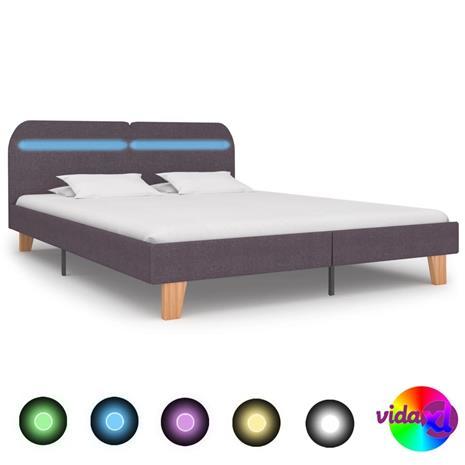 vidaXL Sängynrunko LED-valolla harmaanruskea kangas 150x200 cm