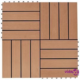 vidaXL Lattialaatat 22 kpl 30x30cm 2 m² puukomposiitti tiikinvärinen