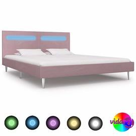 vidaXL Sängynrunko LED-valolla vaaleanpunainen kangas 150x200 cm