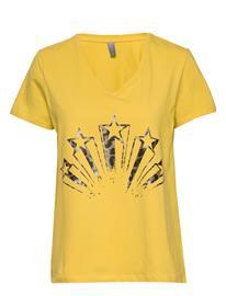 Culture Cunikka T-Shirt T-shirts & Tops Short-sleeved Keltainen Culture BAMBOO
