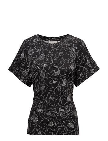 InWear Tinne Top Blouses Short-sleeved Musta InWear PENCIL FLOWER BLACK