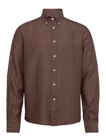Eton Button Down Linen Shirt Paita Rento Casual Ruskea Eton OFFWHITE/BROWN