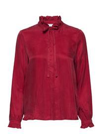 Coster Copenhagen Shirt W. Ruffle And Bow Pitkähihainen Pusero Paita Punainen Coster Copenhagen WINE RED
