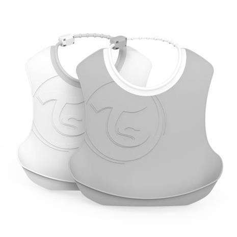 Twistshake, 2x Bib 4+m Pastel Grey White