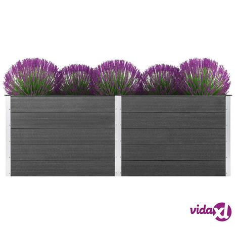 vidaXL Puutarhan kukkalaatikko 250x50x91 cm WPC harmaa