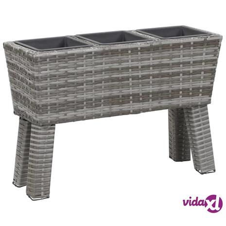 vidaXL Kukkalaatikko jaloilla 3 ruukkua 72x25x50cm polyrottinki harmaa