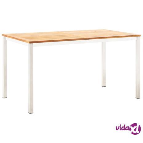 vidaXL Ulkoruokapöytä 140x80x75 cm akaasiapuu ja ruostumaton teräs
