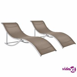 vidaXL Kokoontaitettavat aurinkotuolit 2 kpl harmaanruskea textilene