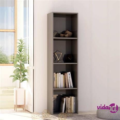 vidaXL Kirjahylly korkeakiilto harmaa 40x30x151,5 cm lastulevy