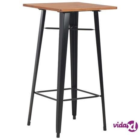 vidaXL Baaripöytä mänty teräs 60x60x108 cm musta, Ruokapöydät ja -tuolit