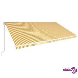 vidaXL Automaattisesti kelattava markiisi 600x300cm keltainen ja valk.