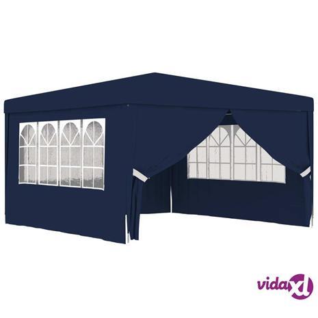 vidaXL Ammattilaisten juhlateltta sivuseinillä 4x4 m sininen 90 g/m²