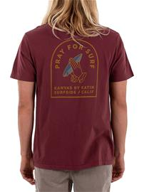Katin USA Pray For Surf T-Shirt dark red Miehet