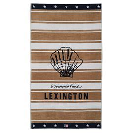 Lexington Graphic Cotton Velour Beach Towel 100x180 cm, Beige/White