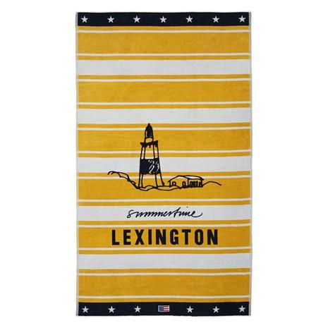 Lexington Graphic Cotton Velour Beach Towel 100x180 cm, Yellow/White