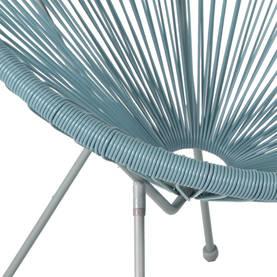 Parvekeryhmä COMO, pöytä + 2 tuolia, teräsrunko, lasikansi, harmaa/sininen