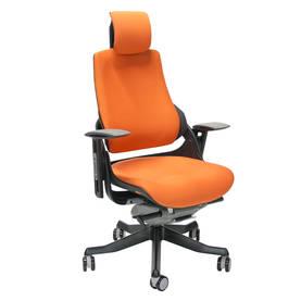 Työtuoli WAU niskatuellinen, tyylikäs, kestävä, ergonominen, monipuoliset säädöt, oranssi / musta