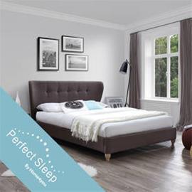 Sänky VICTORIA 160x200cm patjalla HarmonyDelux, tummanruskea