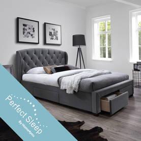 Sänky LOUIS 160x200cm patjalla HarmonyDuo, tummanharmaa