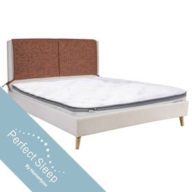 Sänky CASSIDY 160x200cm patjalla OlympiaTop, ruoste/beige