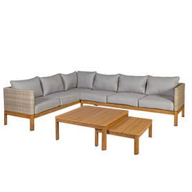 Sohvaryhmä CAPTAIN kulmasohva ja 2 pöytää, alurunko polyrottingilla, harmaa/beige