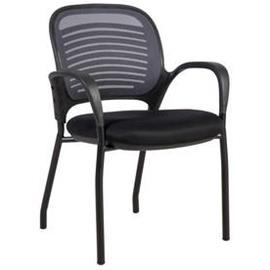 Asiakastuoli TORINO pinottava, verkkokangas, musta/harmaa