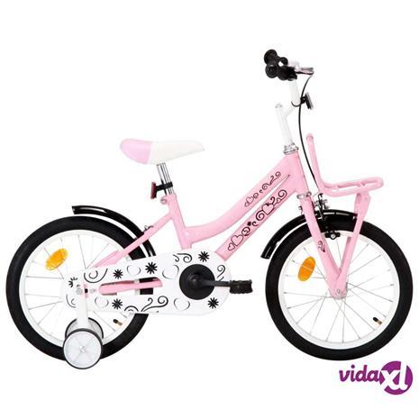 """vidaXL Lasten pyörä etutarakalla 16"""""""" valkoinen ja pinkki"""