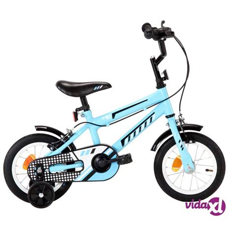"""vidaXL Lasten pyörä 12"""""""" musta ja sininen"""