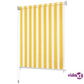 vidaXL Rullaverho ulkotiloihin 120x140 cm Keltainen ja valkoinen