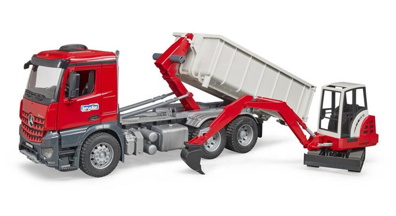 Bruder - MB Actros Truck with Roll-off container + Schaeff HR16 Mini Excavator (BR3624)