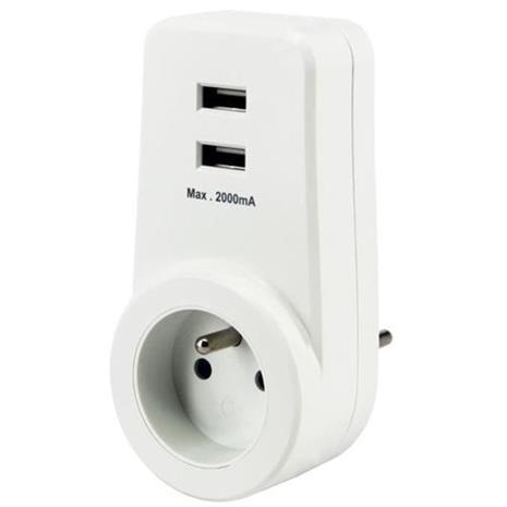 CHACON 16 pistorasia, jossa on 2 valkoista USB-porttia