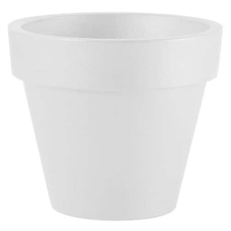 PLASTIKEN Yksi pyöristetty kukkaruukku - 32 x 28 cm - Valkoinen