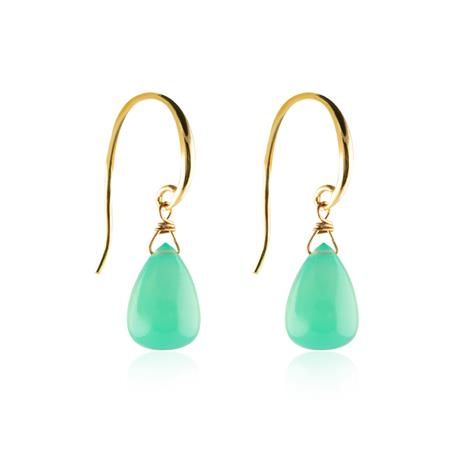 Sophie by Sophie Candy Drop Earrings, Green Chalcedony/Gold