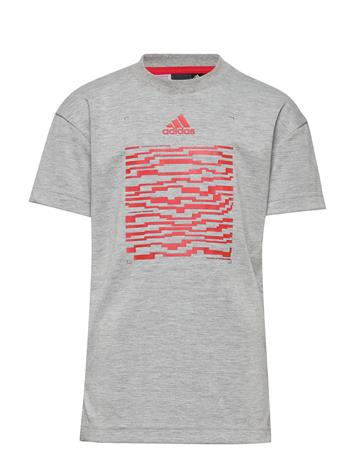 adidas Performance Jb A Spacer Tee T-shirts Short-sleeved Harmaa Adidas Performance MGREYH/VIVRED