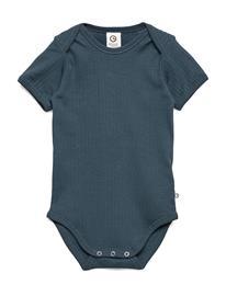 Mä¼sli by Green Cotton Cozy S/S Body Bodies Short-sleeved Sininen Mä¼sli By Green Cotton MIDNIGHT
