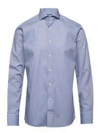 Eton Block Print Poplin Shirt Paita Bisnes Sininen Eton BLUE