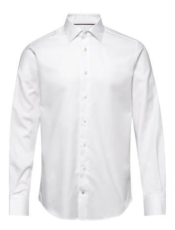 Tommy Hilfiger Tailored Herringb Flex Collar Shirt Paita Bisnes Valkoinen Tommy Hilfiger Tailored WHITE