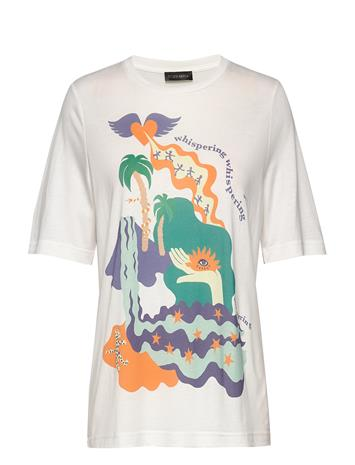 STINE GOYA Leonie, 840 Placement Tee T-shirts & Tops Short-sleeved Valkoinen STINE GOYA LANDSCAPE