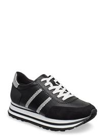Tamaris Woms Lace-Up Matalavartiset Sneakerit Tennarit Musta Tamaris BLACK/SILVER