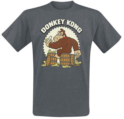Super Mario - Donkey Kong - T-paita - Miehet - Tummanharmaa