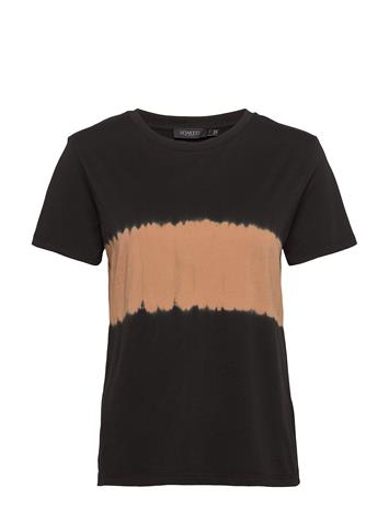 Soaked in Luxury Slsummer Tiedye T-Shirt Ss T-shirts & Tops Short-sleeved Musta Soaked In Luxury BLACK