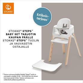 Stokke Steps syöttötuoli Black seat, Oak black legs