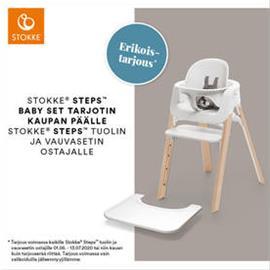 Stokke Steps syöttötuoli White seat, Natural legs