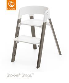 Stokke Steps syöttötuoli White seat, Hazy Grey legs