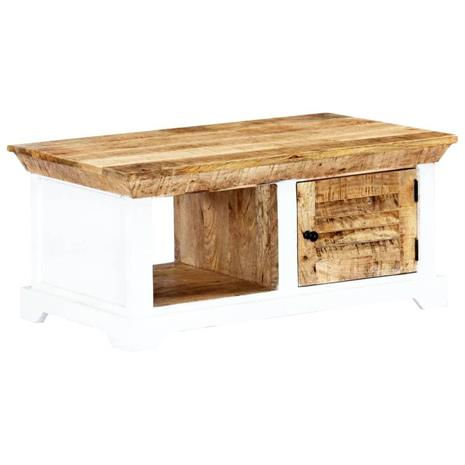 vidaXL Sohvapöytä valkoinen ja ruskea 90x50x40cm täysi karkea mangopuu, Muut huonekalut