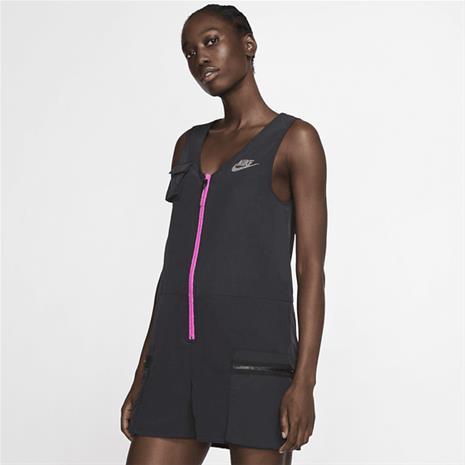 Nike W NSW ICN CLSH ROMPER BLACK/FIRE PINK