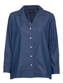 Scotch & Soda Ams Blauw Chic Denim Shirt With Island Collar Pitkähihainen Paita Sininen Scotch & Soda INDIGO