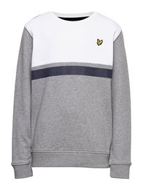 Lyle & Scott Junior Yoke Stripe Crew Sweatshirt Vintage Grey Heather Svetari Collegepaita Harmaa Lyle & Scott Junior VINTAGE GREY HEATHER