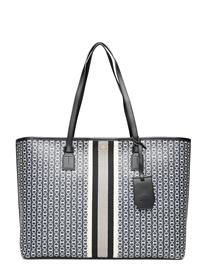 Tory Burch Gemini Link Canvas Top-Zip Tote Bags Top Handle Bags Musta Tory Burch BLACK GEMINI LINK