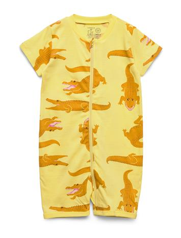 Lindex Pyjamas Ss Croco Aop Bodies Short-sleeved Keltainen Lindex YELLOW